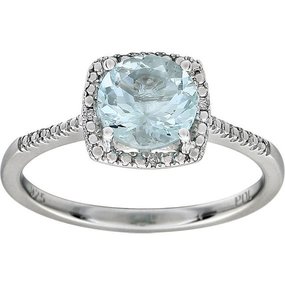 Aquamarine Diamond Halo Ring Sterling Silver By