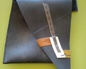 SALE!  ABSTRACT  OOAK innertube / inner tube rubber & leather collage hip holster / belt pouch/ clutch bag