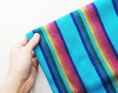Turquoise Blue Mexican Fabric -  Aztec Tribal Pattern - Blue Cambaya stripes - 3 Yards - DIY Wedding