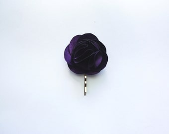 Bridesmaid and Flower Rose Hair Pin- Purple Satin Fabric