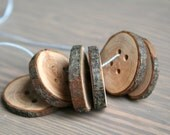 "Wood buttons - set of 6 - with 2 holes - 3cm 1 1/8"" - handmade from reclaimed wood - eco product (#193)"
