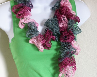 Ruffle scarf handmade  crochet lace and soft multi PINK and GRAY scarf or belt for spring and summer