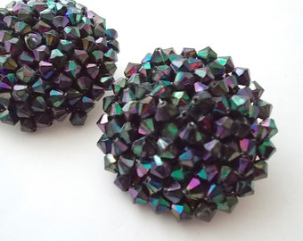 Black Rhinestone Earrings Cluster Black Peacock Aurora Borealis Huge Dome Carneval Glass 1950s