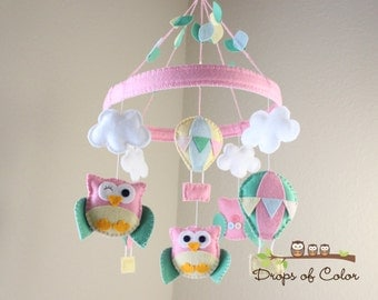 Baby Crib Mobile - Baby Mobile - Owl and Hot Air Balloons Mobile - Nursery Mobile (You can pick your colors)