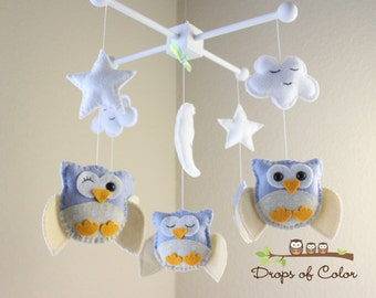 "Baby Crib Mobile - Baby Mobile - Owl Mobile - Nursery Baby Decor - Neutral Mobile ""Five Owls in the night"" (You can pick your colors)"