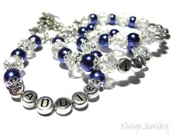 Personalized Bracelet, Girl Name Bracelet, Navy Blue Bracelet, Kids Jewelry, Child Bracelet, Flower Girl Jewelry, Crystal Pearl Bracelet