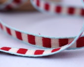 Woven Ribbon red / white, 1 cm width, 2 Meters (2.18 yard)