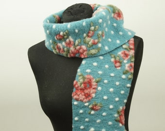 Scarf, Shawl, organic wool, blue with white dots