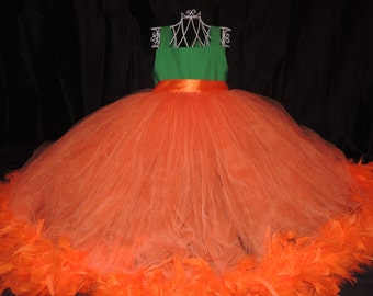 The Hair Bow Factory Pumpkin Halloween Feather Tutu Dress Size 12-24 Months to Size 8