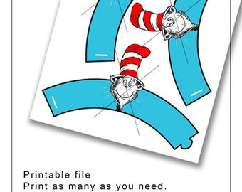 Cat in The Hat Dr.Suess cupcake wrappers file