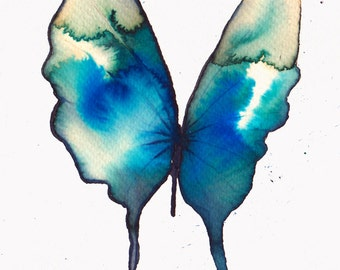 azure turquoise and ultramarine blue and gold butterfly. original watercolour painting