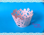 Pink Pearl Tropical Flowers Cupcake Wrappers (12)