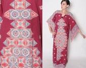 Vintage  70s Maroon Hippie Boho Ethnic Festival Angel Sleeve Caftan Dashiki Maxi Dress // Long Dress // S M L