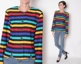 Vintage 80s Colorful Stripped Blazer / S M