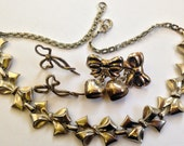 Vintage Sterling Silver BOW Earrings and Necklace - Hearts - tInstant Vintage Jewelry Destash Collection Lot