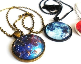 Stars, Moons and Mars, Oh my. Space Cameo Necklaces