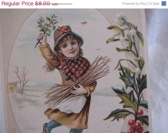 Victorian Trade Card Clark's Mile-End Spool Cotton Winter scene girl with holly