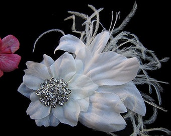 ENGRID - Bridal Ivory Hair Clip, Wedding Fascinator with Clear Rhinestone Ostrich Feathers