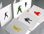 Avengers Superhero Letterpress Cards - Set of 6 - Black Widow, Captain America, Hawkeye, Hulk, Iron Man, Thor