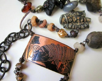 You Holy Minstrels - statement tribal etched copper focal, African trade bead, amber, wood, stone, polymer clay, and chunky copper necklace