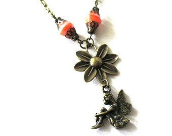 Fairy necklace orange flower jewelry antique brass bronze tinkerbell necklace, vintage style fairy charm necklace