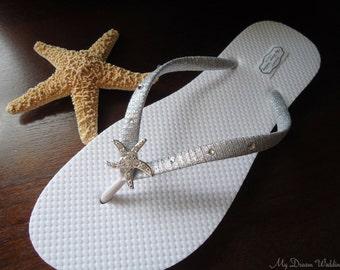 Starfish Flip Flops, Swarovski silvel flip flops, bridal flip flops, Wedding flip flops, flip flops wedding, bridal flats, mdw-0011c