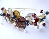steampunk wedding headband OOAK - vintage watch faces freshwater pearl side tiara gold burgundy black