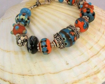 New Mexico: handcrafted lampwork beaded bracelet
