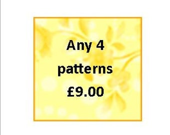Pattern deal choose 4 patterns as a deal  PDF files UK seller.