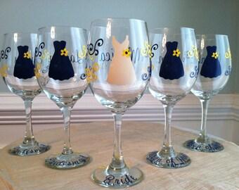 8 Personalized Monogram Wine Glass Bridesmaid Wedding Dress Engagement Bridal Party Cocktail