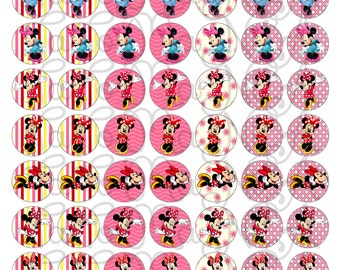 Minie mouse  1 inch circles Digital Collage Sheet