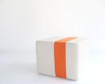 Natural Pouf/Floor Pouf/Ottoman/Stripe Pouf/Orange Stripe/Urban/Minimalistic/Modern/Floor Pouf/Foot Stool/Nursery Pouf/ Zigzag Studio Design