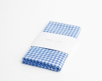 Houndstooth pocket square in blue and white