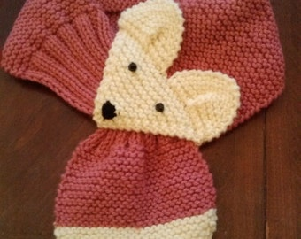 Kids or Adults Adjustable Fox Scarf ,Rose,Hand Knit  neck warmer