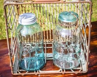 vintage milk crate : silver steel 60s 50s industrial storage carton bin HOOD