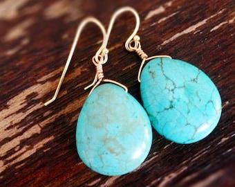 Turquoise Earrings - Gemstone Jewellery - Southwestern Jewelry - Fashion - Everyday - Teardrop