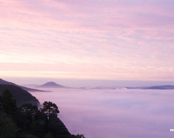 Pink sunrise, Landscape print, Morning glory, Mountain sunrise, Livingroom wall art, Sea of pink clouds, Czech mountains, Misty morning