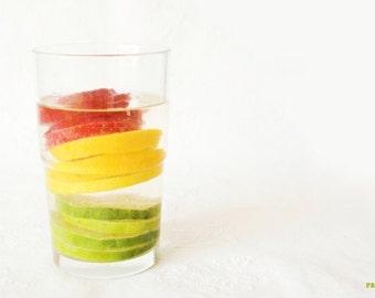 Citrus fruit print, Food photography, Red Green Yellow, Kitchen art, Traffic lights, Lemon, Lime, Strawberry, Modern art, Fruit Still life