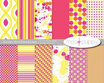 SALE: (50 for 50) Digital Scrapbook Paper Pack  --  Salina Hot Pink&Lemon  -  INSTANT DOWNLOAD