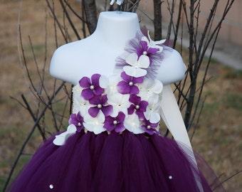 Flower girl dress ,Plum White tutu dress, baby tutu dress, toddler tutu dress, wedding, birthday,