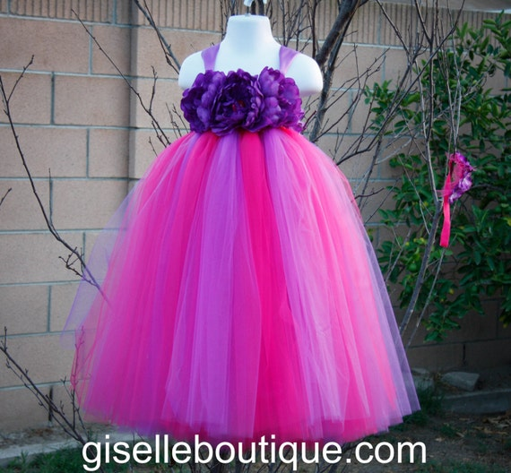 Flower girl dress. Purple and Hot Pink.baby tutu dress, toddler tutu dress, wedding, birthday,