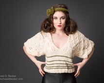 Closeout Sale!! Handknit Designer Crop Top in Merino wool White-Olive Stylish Lace Sweater with Ribbon