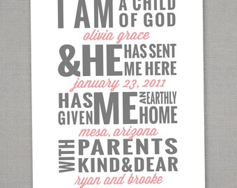 I am a Child of God Custom Print