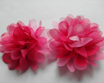 "10 Organza 2.5"" Colorful 2 Tone Flower-Hot Pink D007"