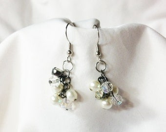 Earrings Chandelier Pearl and Crystal Earrings, Pearl Cluster Earrings,Classic Jewelry,  Prom and Bridal Jewelry by CindyDidit