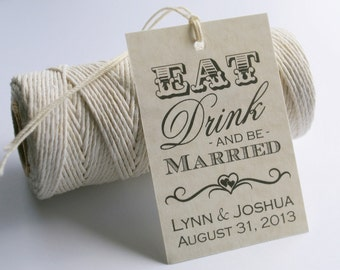 Eat Drink and Be Married Tags, Printable Wedding Favor Tags, Wedding Gift Tags, Personalized Favor Tags, Digital File by Event Printables