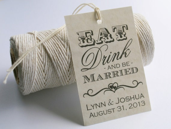 Printable Gift Tags Wedding: Eat Drink And Be Married Printable Wedding By EventPrintables