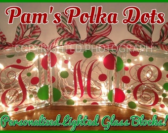 Personalized Lighted CHRISTMAS GLASS BLOCK with Monogram Initial White Lights Polka Dots & Ribbon Holiday Decor Mantel Foyer Entryway
