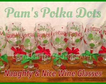 8 Piece Set NAUGHTY & NICE Tall CHRISTMAS Wine Glasses Two-Sided with Polka Dots Great Christmas Gift Red Green
