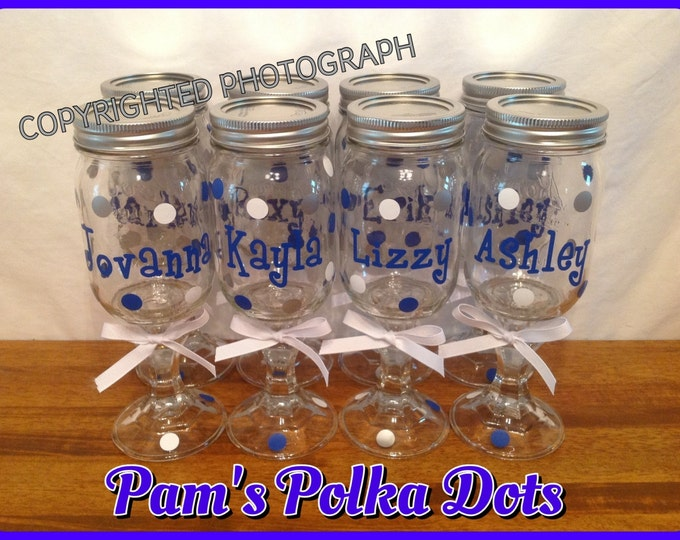14 Personalized REDNECK WINE GLASSES Bridal Party Bride Bridesmaids Bachelorette Wedding Polka Dots